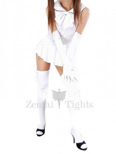 Cool White Shiny Metallic Bowknot Mini Skirt Suit
