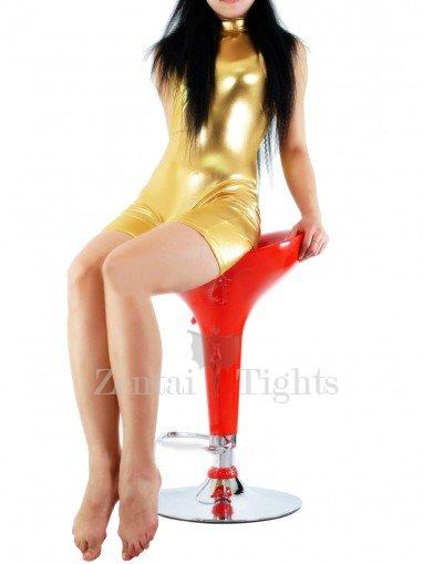 Golden Shiny Metallic Half Length Sleeveless Unisex Catsuit