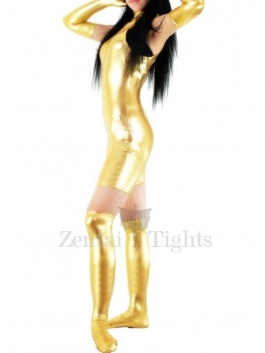 Golden Shiny Metallic Half Length Sleeveless Unisex Catsuit with Gloves and Half Stockings
