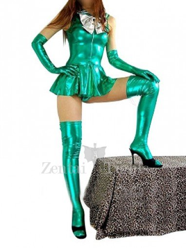 Green Shiny Metallic Bowknot Mini Skirt Suit