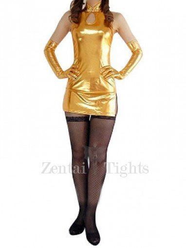 Ideal Gold Shiny Metallic Sexy Dress
