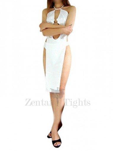 Ideal White Shiny Metallic Sexy Dress