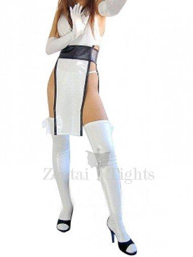 Perfect Top White Shiny Metallic Sexy Costume