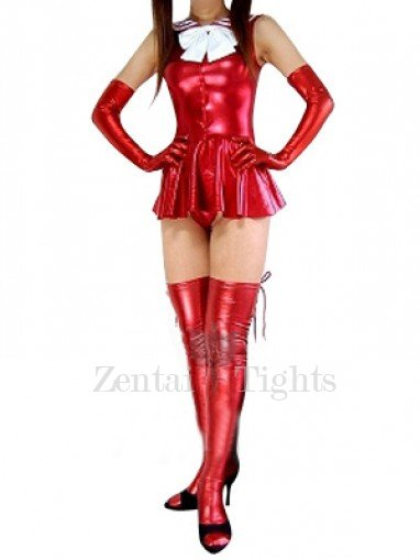 Red Shiny Metallic Bowknot Mini Skirt Suit