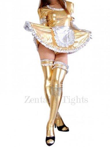 Suitable Gold Shiny Metallic Lace Trim Sexy Dress