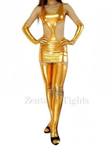 Suitable Gold Shiny Metallic Sexy Dress