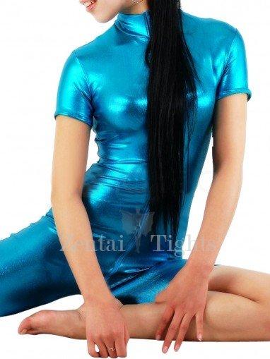 Suitable Lake Blue Shiny Metallic Half Length Unisex Catsuit