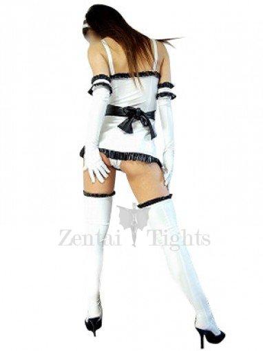 Suitable White Shiny Metallic Lace Trim Sexy Dress