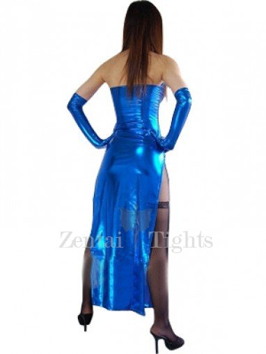 Top Blue Shiny Metallic Sexy Dress