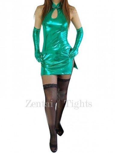 Top Green Shiny Metallic Sexy Dress