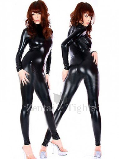 Black Shiny Metallic Catsuit