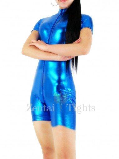 Blue Shiny Metallic Half Length Unisex Catsuit