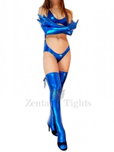 Blue Shiny Metallic Sexy Three-Set Costume