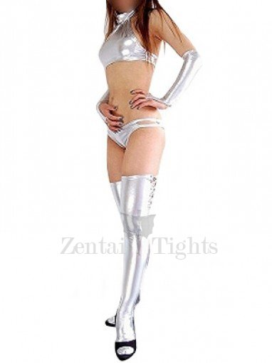 Cheap Silver Shiny Metallic Sexy Costume