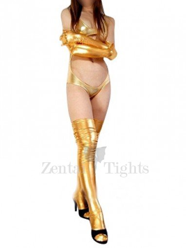 Gold Shiny Metallic Sexy Three-Piece Suit Costume