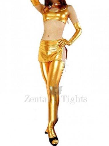 Gold Shiny Metallic Sexy Three-Set Costume