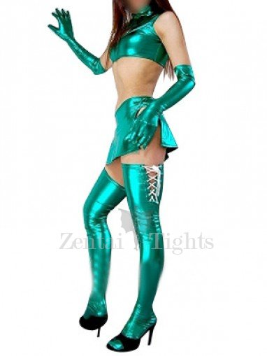 Green Shiny Metallic Sexy Four-Set Costume