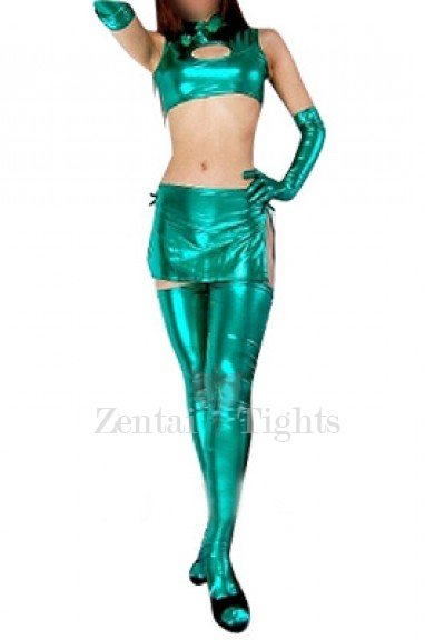 Green Shiny Metallic Sexy Three-Set Costume