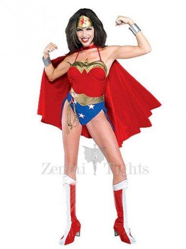 Lovely Wonder Woman Diana Lycra Shiny Metallic Super Hero