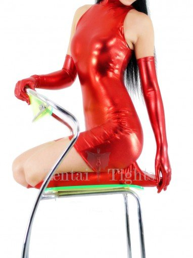 Popular Red Shiny Metallic Half Length Sleeveless Unisex Catsuit