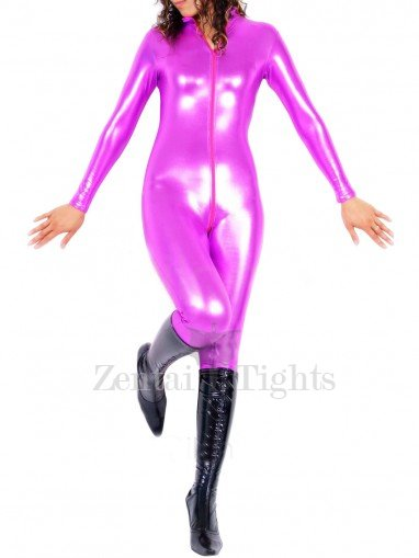 Purple Shiny Metallic Front Open Unisex Catsuit