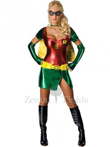 Red Batgirl Robin Lycra Shiny Metallic Super Hero