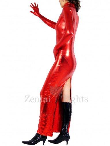 Red Shiny Metallic Back Open Long Dress