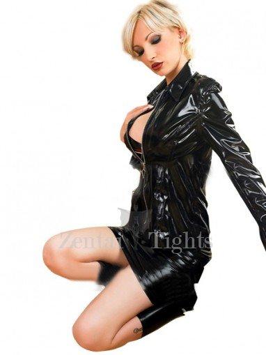 Shiny Metallic Black Jacket with Mini Skirt