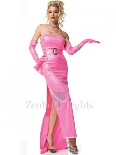 Shiny Metallic Pink Night Gown with Long Gloves