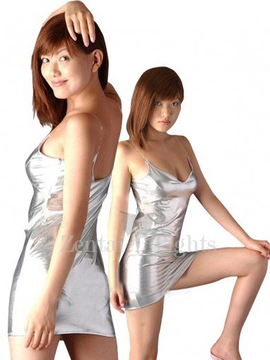 Shiny Metallic Silver Chemise