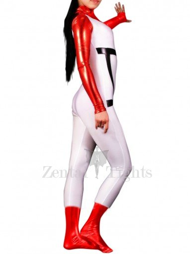 Shiny Metallic White with Red Unisex Catsuit