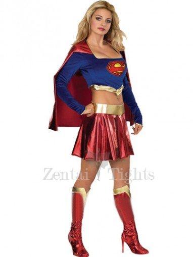 Super Girl Lycra Shiny Metallic Super Hero Costume
