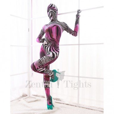 Pink and White Color Combination of Animal Patterns DuPont Morph Suit Zentai Catsuits Tights