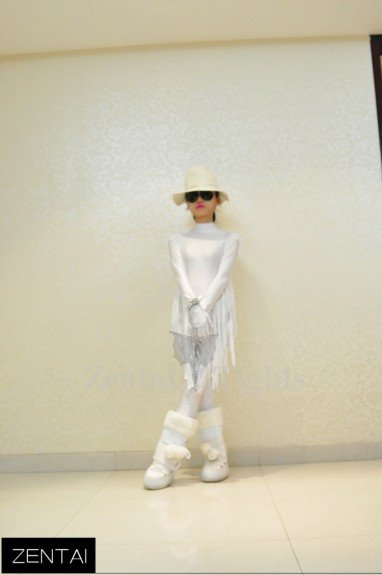 Cowboy Style Fringed White Lycra Tights Soft Breathable and Elastic Morph Suit Zentai Suits Costume