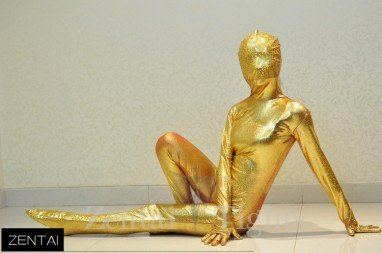 Girly Stage Performance Clothing Golden Coat Fullbody Tights Tights Morph Suit Zentai Suit