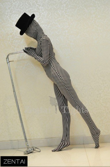 Polka Dot Checkered Pattern of Black and White Color Stitching Sense Art Full Body Morph Suit Zentai Tights Morph Suit Zentai Suit Tights