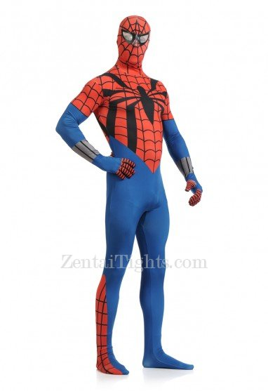 Red and Blue Spiderman Super Hero Full Body Spandex Holiday Unisex Lycra Morph Zentai Suit