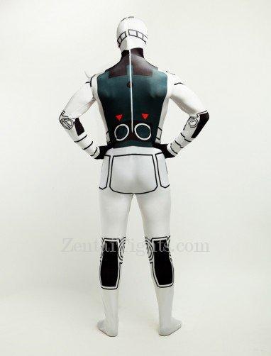 Black and White Robot Halloween Full Body Spandex Holiday Unisex Lycra Morph Zentai Suit