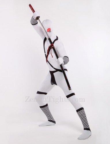 White Japanese Ninja Halloween Full Body Spandex Holiday Unisex Lycra Morph Zentai Suit