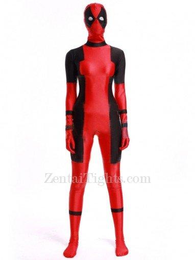 2016 Deadpool Costume Black and Red Spandex Deadpool Bodysuit
