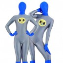 Supply Gray with Blue Lycra Spandex Unisex Morph Suit Zentai Suit