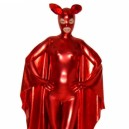 Supply Red Shiny Metallic Unisex Catsuit with Mask and Cape
