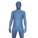 Supply Blue And White Stripe Lycra Unisex Morph Suit Zentai