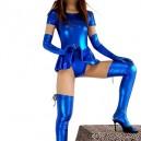 Blue Short Sleeves Shiny Metallic Sexy Dress