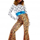 Lycra Spandex Black Dots Shirt and Leopard Stripe Trousers