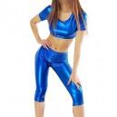 Blue Short Sleeves Shiny Metallic Suit