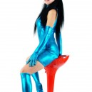 Lake Blue Shiny Metallic Half Length Sleeveless Unisex