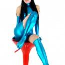 Lake Blue Shiny Metallic Half Length Sleeveless Unisex Dress