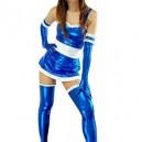 Superior Blue Shiny Metallic Lace Trim Sexy Dress