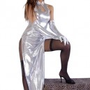 Unusual Silver Shiny Metallic Sexy Dress